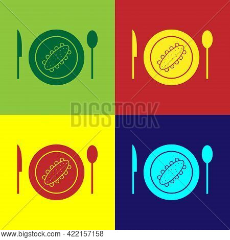 Pop Art Served Cucumber On A Plate Icon Isolated On Color Background. Marine Food. Vector.