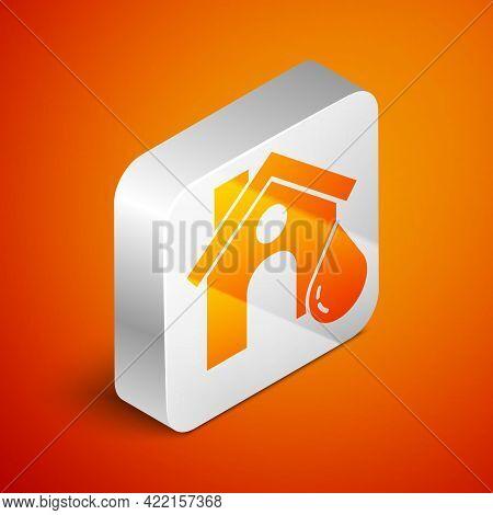 Isometric House Flood Icon Isolated On Orange Background. Home Flooding Under Water. Insurance Conce