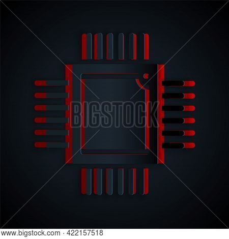 Paper Cut Computer Processor With Microcircuits Cpu Icon Isolated On Black Background. Chip Or Cpu W