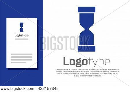 Blue Old Hourglass With Flowing Sand Icon Isolated On White Background. Sand Clock Sign. Business An