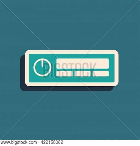 Green Car Audio Icon Isolated On Green Background. Fm Radio Car Audio Icon. Long Shadow Style. Vecto