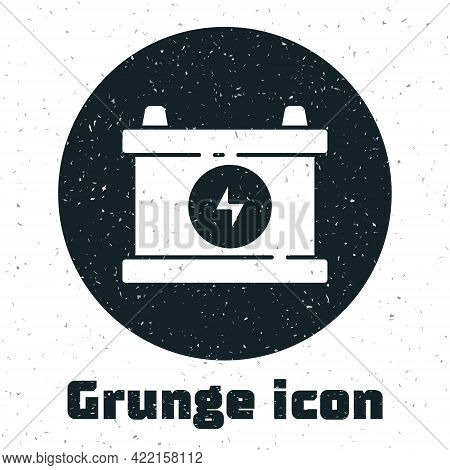 Grunge Car Battery Icon Isolated On White Background. Accumulator Battery Energy Power And Electrici