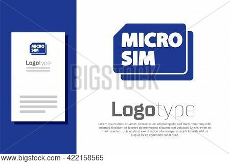 Blue Micro Sim Card Icon Isolated On White Background. Mobile And Wireless Communication Technologie