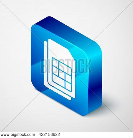 Isometric Sim Card Icon Isolated On Grey Background. Mobile Cellular Phone Sim Card Chip. Mobile Tel