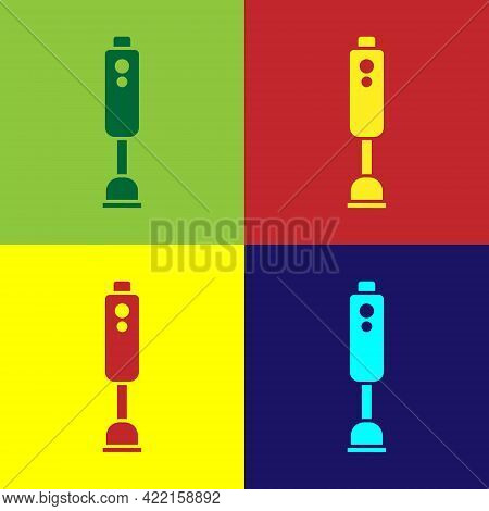 Pop Art Blender Icon Isolated On Color Background. Kitchen Electric Stationary Blender With Bowl. Co
