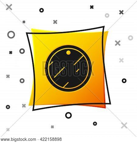 Black Cutting Board Icon Isolated On White Background. Chopping Board Symbol. Yellow Square Button.