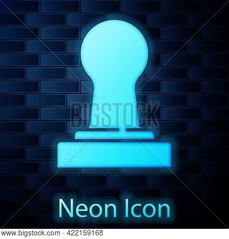 Glowing Neon Coffee Tamper Icon Isolated On Brick Wall Background. Vector