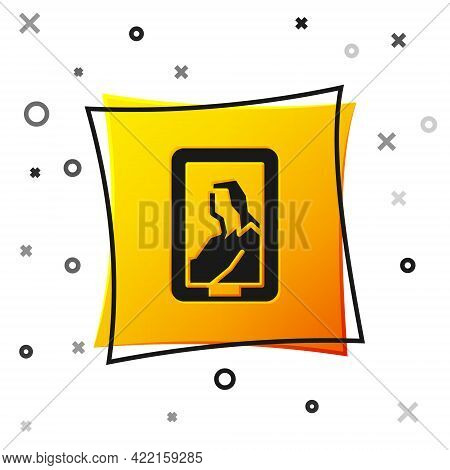 Black Portrait Picture In Museum Icon Isolated On White Background. Yellow Square Button. Vector