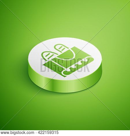Isometric French Baguette Bread Icon Isolated On Green Background. White Circle Button. Vector