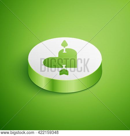 Isometric Amour Symbol With Heart And Arrow Icon Isolated On Green Background. Love Sign. Valentines