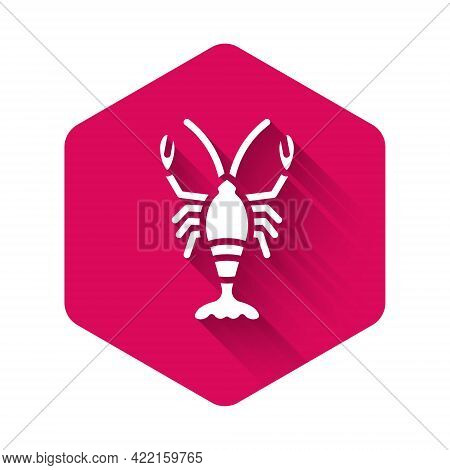 White Lobster Icon Isolated With Long Shadow. Pink Hexagon Button. Vector