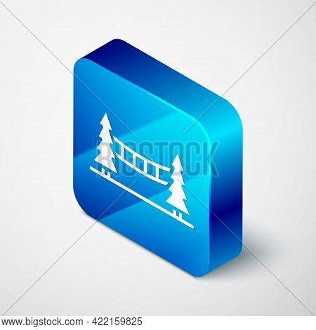 Isometric Capilano Suspension Bridge In Vancouver, Canada Icon Isolated On Grey Background. Blue Squ