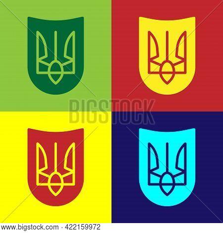 Pop Art National Emblem Of Ukraine Icon Isolated On Color Background. Ukrainian Trident. Vector
