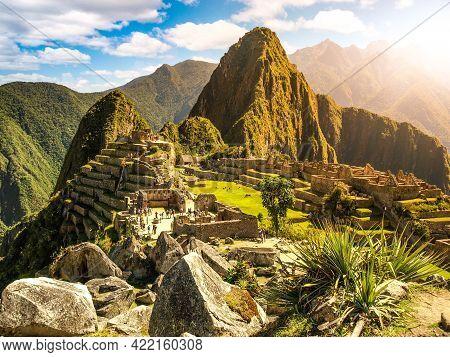 Machu Picchu, Peruvian Lost City Of Incas Situated On Mountain Ridge Above Sacred Valley Of Urubamba
