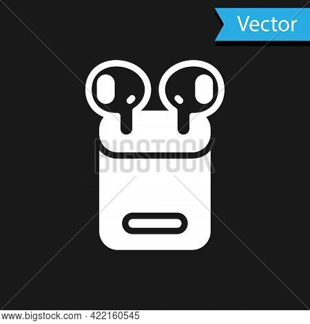 White Air Headphones In Box Icon Isolated On Black Background. Holder Wireless In Case Earphones Gar