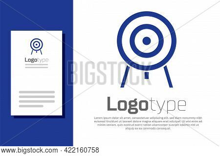 Blue Target Icon Isolated On White Background. Dart Board Sign. Archery Board Icon. Dartboard Sign.