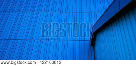 Background With Texture Of Metal Cladding.blue Stripes Of Modern Architecture, Blue Mono Tone Of Met