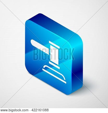 Isometric Judge Gavel Icon Isolated On Grey Background. Gavel For Adjudication Of Sentences And Bill