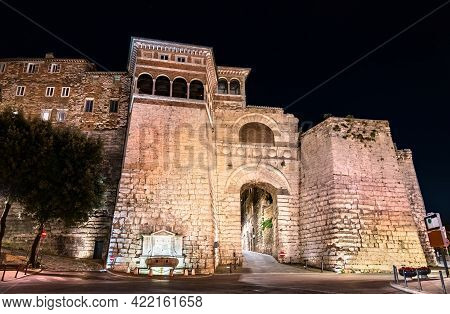 The Etruscan Arch Or Augustus Gate In Perugia, Italy