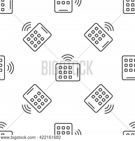 Grey Line Wireless Tablet Icon Isolated Seamless Pattern On White Background. Internet Of Things Con