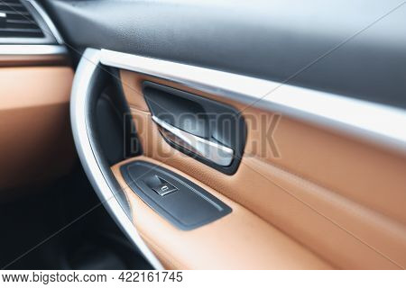 Car Handle And Window Lifter Button In Luxury Car