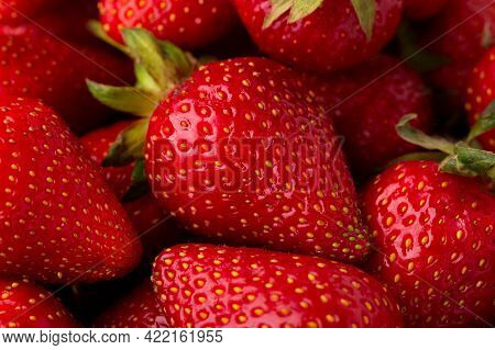 Ripe Strawberry Close-up. Strawberry Background. Strawberries Top View. Strawberry Harvest.