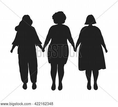 Silhouettes Of Overweight Women. Plump Women Are Holding Hands. Plus Size Girls. Body Positive Conce