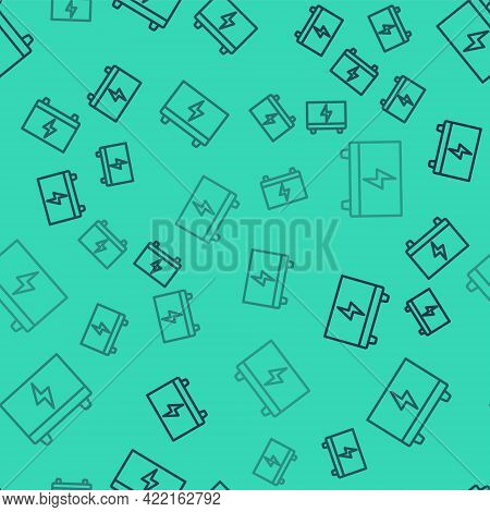 Black Line Car Battery Icon Isolated Seamless Pattern On Green Background. Accumulator Battery Energ