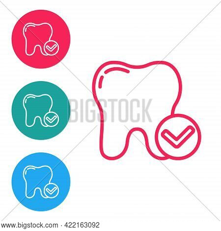 Red Line Tooth Whitening Concept Icon Isolated On White Background. Tooth Symbol For Dentistry Clini