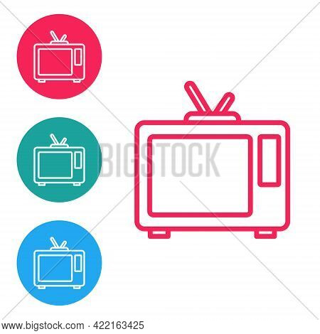 Red Line Retro Tv Icon Isolated On White Background. Television Sign. Set Icons In Circle Buttons. V