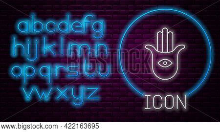 Glowing Neon Line Hamsa Hand Icon Isolated On Brick Wall Background. Hand Of Fatima - Amulet, Symbol