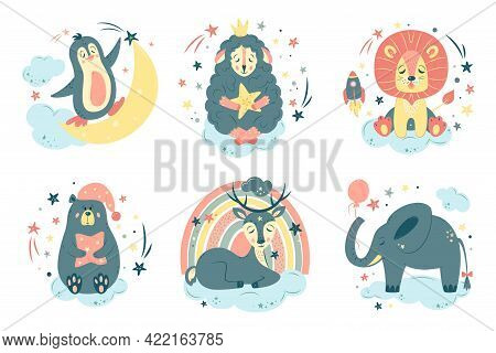 Big Set Of Nursery Isolated Vector Illustration. Cute Animals In Cartoon Style. For Baby Room, Baby