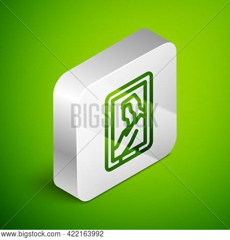 Isometric Line Portrait Picture In Museum Icon Isolated On Green Background. Silver Square Button. V