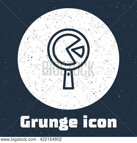 Grunge Line Omelette In Frying Pan Icon Isolated On Grey Background. Omelet In A Skillet. Monochrome
