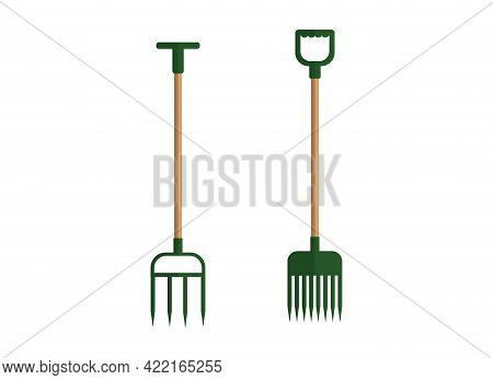 Vector Illustration Of A Set Of Pitchforks. Garden Cleaning Tools