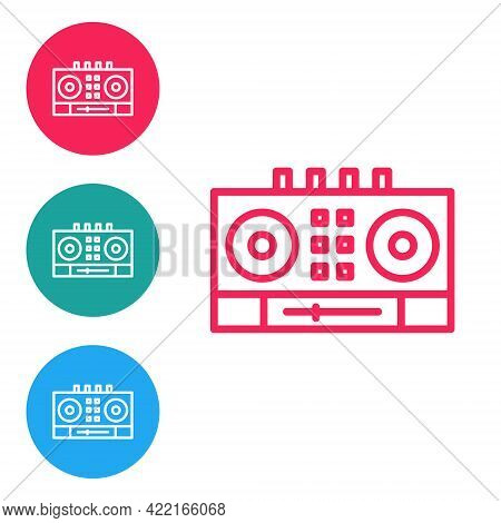 Red Line Dj Remote For Playing And Mixing Music Icon Isolated On White Background. Dj Mixer Complete