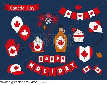 Happy Canada Day Holiday Vector Icons Set. Canadian Symbols Collection Pack Flat Style Illustration.