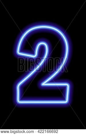 Neon Blue Number 2 On Black Background. Learning Numbers, Serial Number, Price, Place.