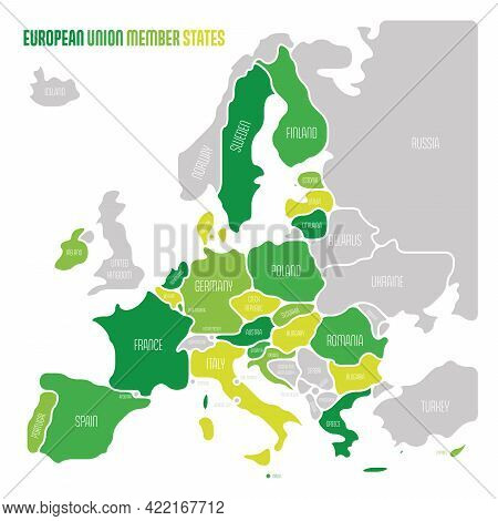Simplified Map Of Eu, European Union. Rounded Shapes Of States With Smoothed Border. Green Simple Fl