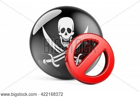 Forbidden Sign With Piracy Flag, 3d Rendering Isolated On White Background