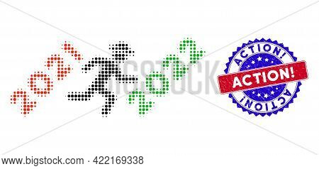 Pixelated Halftone Gentleman Run To 2022 Icon, And Action Exclamation. Unclean Stamp Imitation. Acti