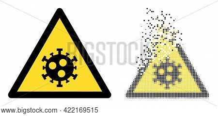 Dissolved Dotted Covid Warning Vector Icon With Wind Effect, And Original Vector Image. Pixel Disapp