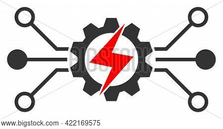 Energy Hitech Vector Icon. A Flat Illustration Design Of Energy Hitech Icon On A White Background.