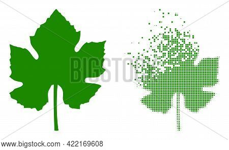 Dissolved Dotted Grape Leaf Vector Icon With Destruction Effect, And Original Vector Image. Pixel De