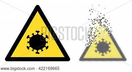 Dispersed Pixelated Coronavirus Warning Vector Icon With Wind Effect, And Original Vector Image. Pix