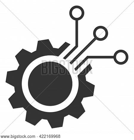 Electronic Gear Vector Icon. A Flat Illustration Design Of Electronic Gear Icon On A White Backgroun