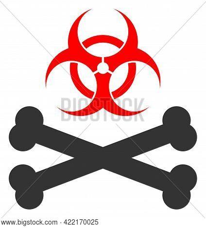 Biohazard Bones Vector Icon. A Flat Illustration Design Of Biohazard Bones Icon On A White Backgroun