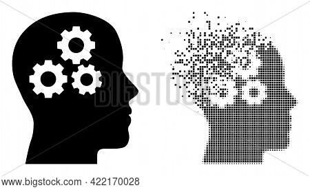Dissolved Dot Brain Gears Vector Icon With Destruction Effect, And Original Vector Image. Pixel Disa