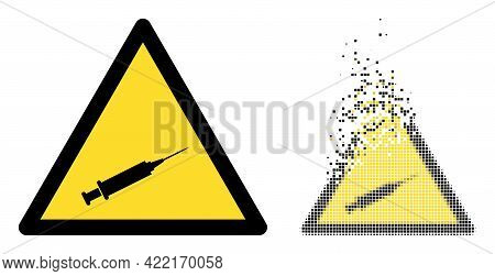 Fractured Dotted Syringe Warning Vector Icon With Wind Effect, And Original Vector Image. Pixel Disi