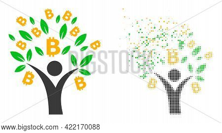 Dispersed Dotted Bitcoin Tree Man Vector Icon With Destruction Effect, And Original Vector Image. Pi